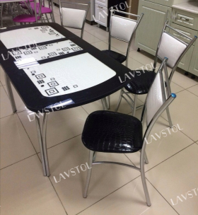Раздвижной стеклянный стол с кожей Паук 130