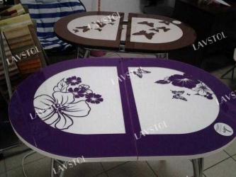 Стол раздвижной с кожей Паук 120