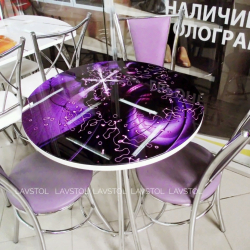 Круглый раздвижной стол Салют с фотопечатью Абстракция