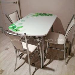 Стол раздвижной Паук с фотопечатью Листья R046