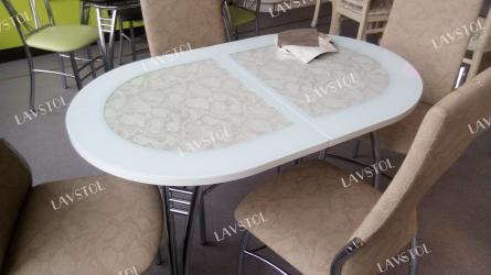 Стол раздвижной с кожей Паук 110