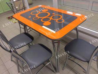 Стеклянный стол с кожей Паук
