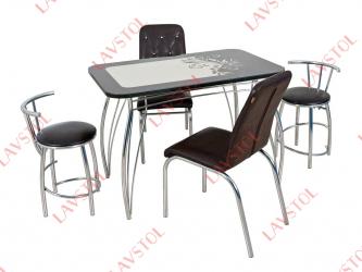 Стеклянный стол с кожей Ланс