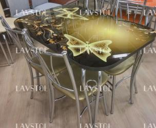 Стол с фотопечатью  раздвижной Лилия 120