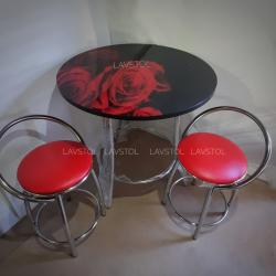 Стол круглый  Салют с фотопечатью Красные розы